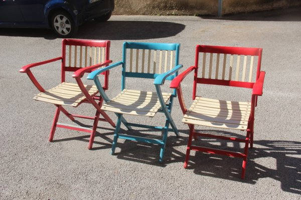 Admirable Colorful Folding Garden Chairs By Fratelli Reguitti 1960S Set Of 3 Cjindustries Chair Design For Home Cjindustriesco