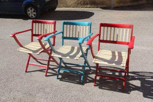 Set Di Sedie Da Giardino.Sedie Da Giardino Pieghevoli Colorate Di Fratelli Reguitti Anni 60