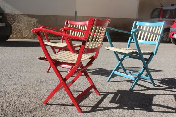 Sedie Da Giardino Pieghevoli.Sedie Da Giardino Pieghevoli Colorate Di Fratelli Reguitti Anni 60