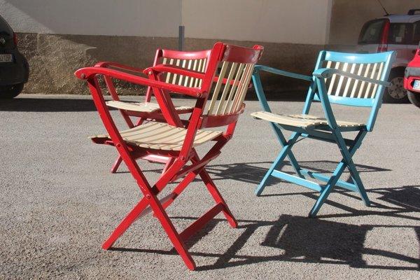 Sedie Da Giardino Colorate.Sedie Da Giardino Pieghevoli Colorate Di Fratelli Reguitti Anni 60 Set Di 3