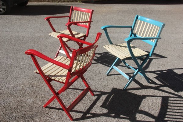 Super Colorful Folding Garden Chairs By Fratelli Reguitti 1960S Set Of 3 Cjindustries Chair Design For Home Cjindustriesco