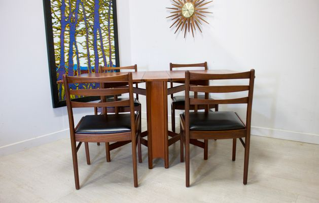 Mid Century Teak Drop Leaf Dining Table Chairs Set From Mcintosh For