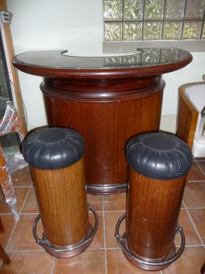 Art Deco Tail Bar With Two Stools 1