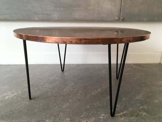 Round Vintage Hammered Copper Table For Sale At Pamono