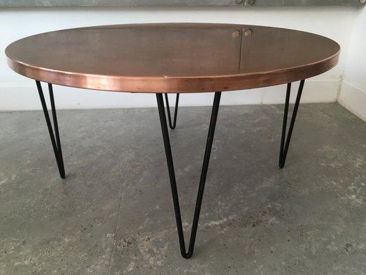 Bon Round Vintage Hammered Copper Table