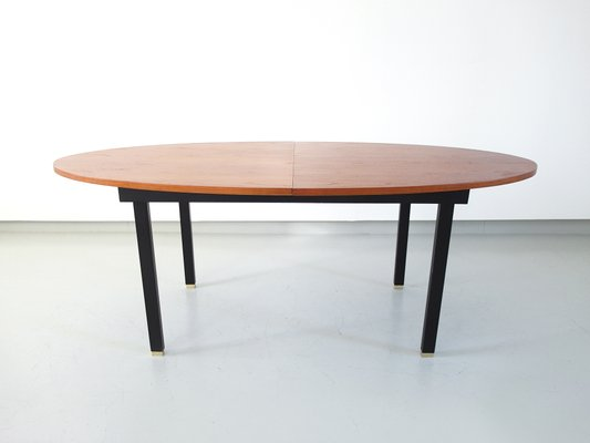 Extendable Oval Dining Table With Teak Top And Br Feet 1960s