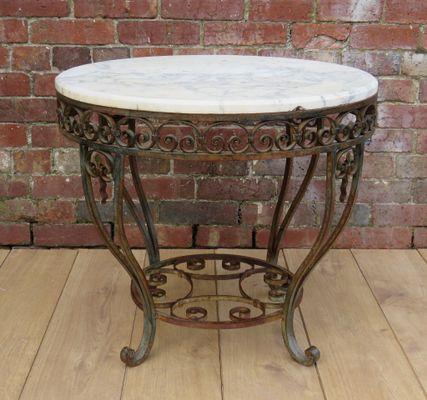 Painted Metal U0026 Marble Top Coffee Table, ...