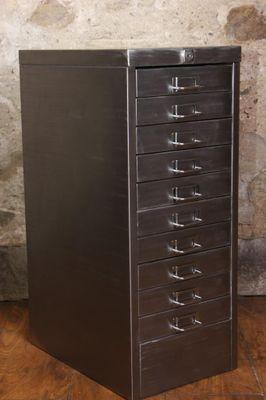 Vintage Stripped Metal Filing Cabinet 1