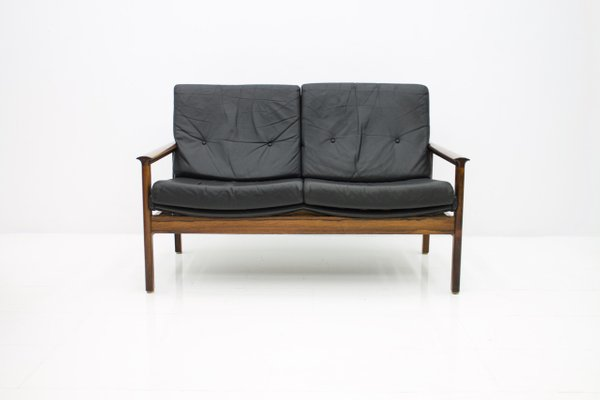 Scandinavian Two-Seater Sofa in Rosewood & Black Leather, 1960s