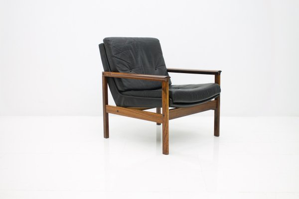 Awesome Scandinavian Easy Chair In Rosewood And Black Leather 1960S Inzonedesignstudio Interior Chair Design Inzonedesignstudiocom
