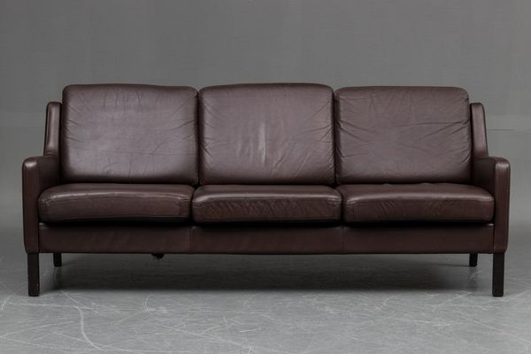 ee5b01c6c36 Vintage Danish Three Seater Leather Sofa for sale at Pamono