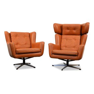 Mid Century Modern Leather Swivel Chairs From Skjold Sorensen 1960s