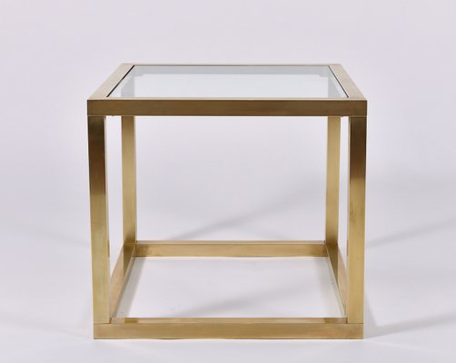 Square Coffee Table Glass Top.Brass Square Side Table With Glass Top 1970s