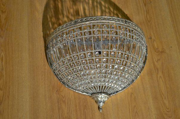 Lampade da parete in ottone argentato e vetro, anni \'50, set di 2 in ...