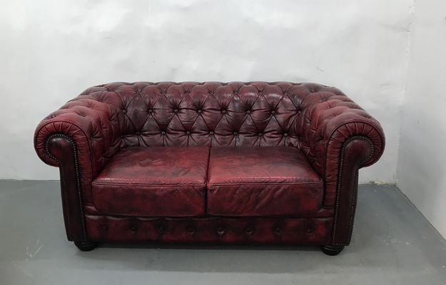 Alle nye Vintage Oxblood Leather 2-Seater Chesterfield Sofa from Rubelli EJ77