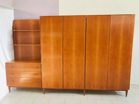 Italian Wardrobe With Drawers And Shelves 1960s