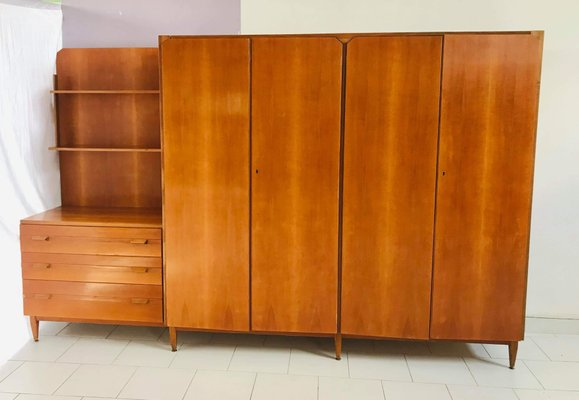 Italian Wardrobe With Drawers And Shelves 1960s 18
