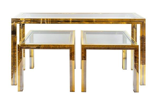 Tavolini E Consolle.Consolle E Due Tavolini Mid Century In Ottone E Metallo Cromato Italia Anni 60
