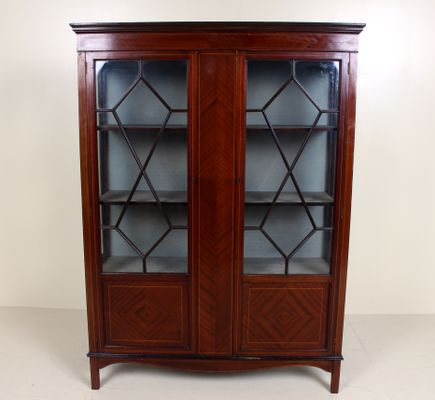 Antique Inlaid Mahogany & Astragal Glass Display Cabinet 1 - Antique Inlaid Mahogany & Astragal Glass Display Cabinet For Sale At