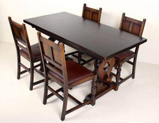 Table De Salle A Manger 4 Chaises Vintage En Chene En Vente Sur Pamono