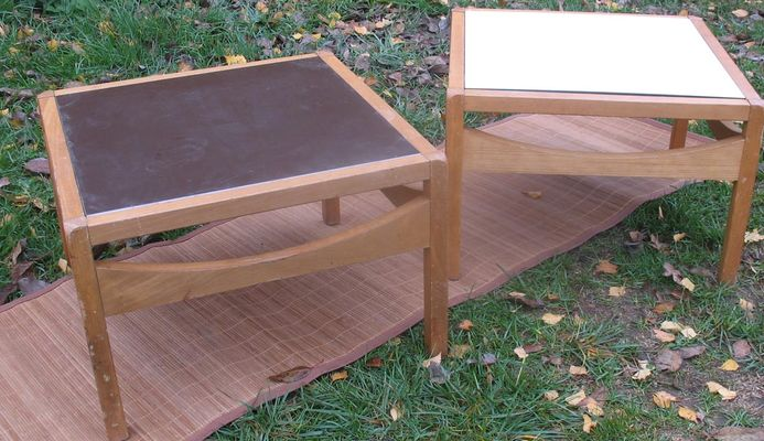Vintage Bi Colored Reversible Square Coffee Tables Set Of 2