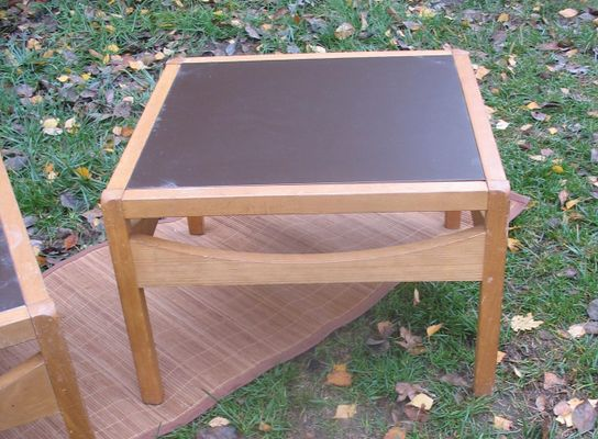 Vintage Bi Colored Reversible Square Coffee Tables Set Of 2 For