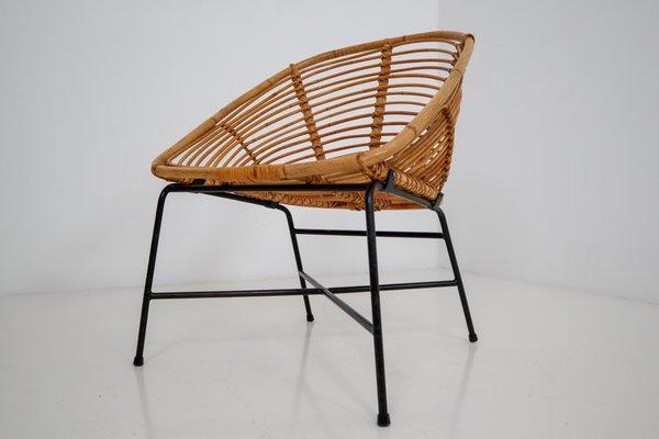 Chaise De Terrasse En Rotin Osier Et Fer Italie 1960s En Vente