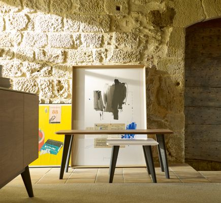 Short Iscla Coffee Table With Cream Lacquered Top Natural Oak Feet By Henri Tujague