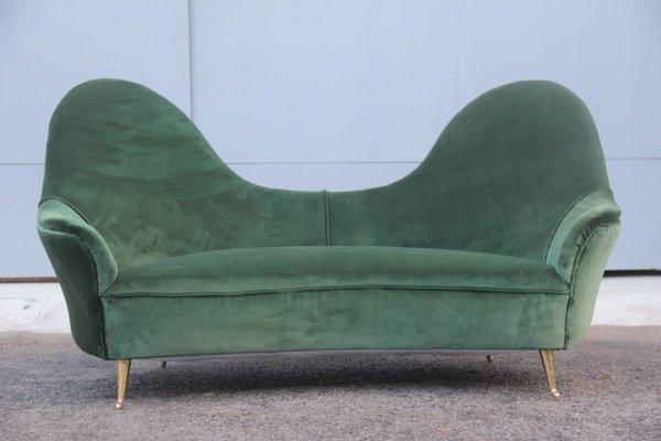 Divano Velluto Verde.Divano In Velluto Verde E Ottone Di Isa Anni 50