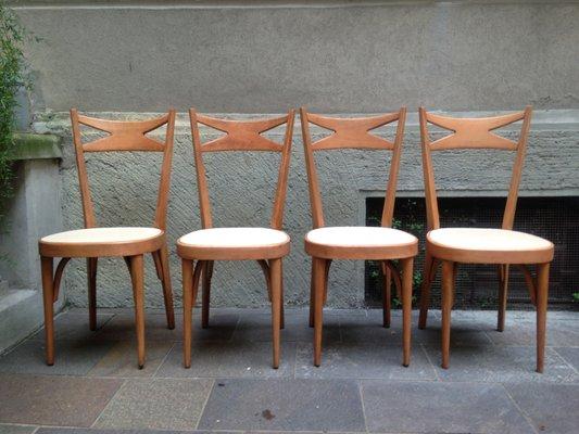 Sedie In Legno Anni 50.Sedie Vintage In Legno Anni 50 Set Di 4