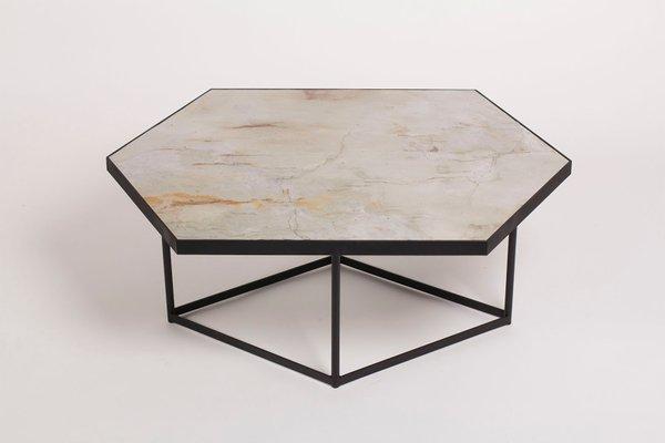 Table Basse Confluence En Pierre Naturelle Et Acier Par Gaspard Graulich