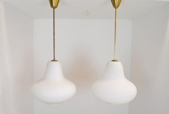De Vintage 2 Lámparas Opalino Axel AckingJuego Techo Suecas Vidrio Carl 5L43ARj