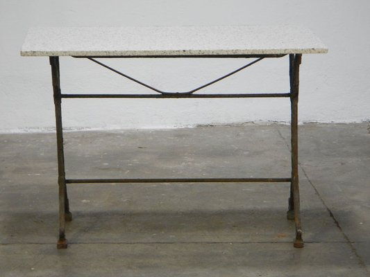 Vintage French Cast Iron U0026 Marble Side Table