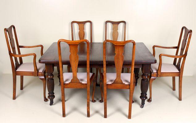 Table De Salle A Manger Victorienne Antique En Acajou Avec 6 Chaises