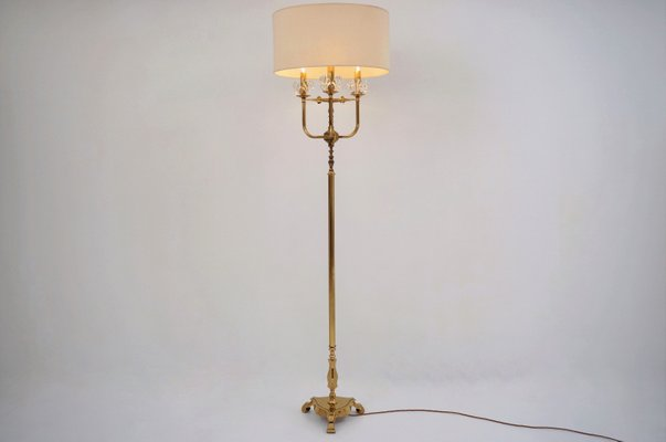 Vintage French Brass Crystal Floor Lamp 1940s For Sale At Pamono