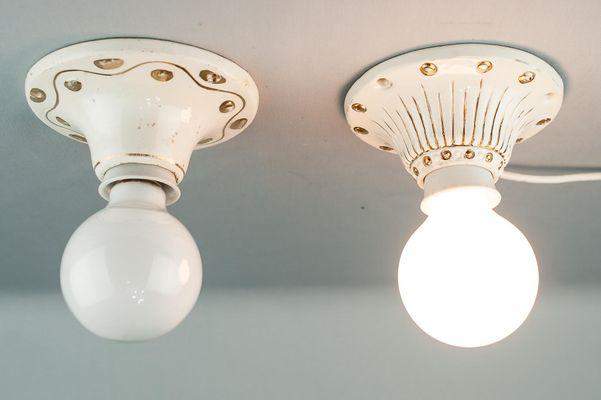Lampade da soffitto art déco piccole in ceramica anni set di