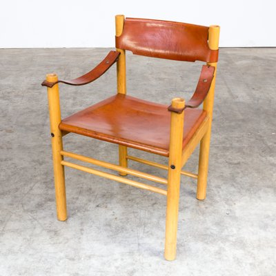 Ordinaire Camel Brown Leather Chair From Ibisco, 1970s 1