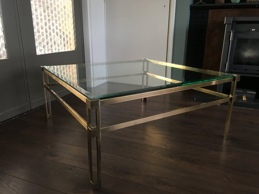 Vintage Hollywood Regency Square Brass Coffee Table For Sale At Pamono