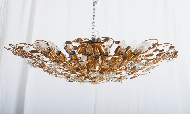 huge discount f9e76 2a4e2 Large Brass and Crystal Flush Mount Chandelier, 1988