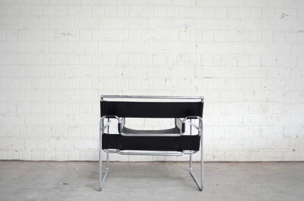 Chaise Wassily B3 En Cuir Noir Par Marcel Breuer Pour Gavina 4