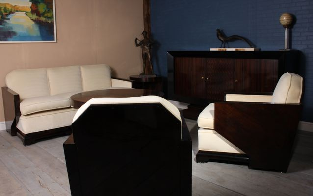 Art déco lounge set aus nussholz er bei pamono kaufen