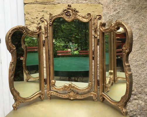 Miroir Triptyque Antique en vente sur Pamono