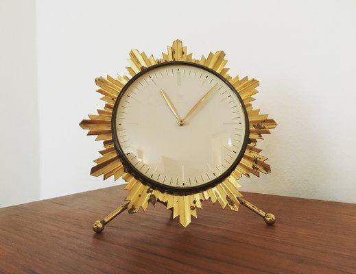 German Sunburst Table Clock From Junghans, 1950s 1