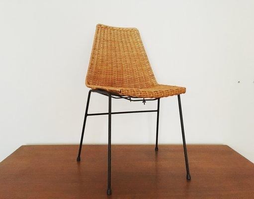 Sedia Design Vimini.Sedia In Vimini Ed Acciaio Italia Anni 50