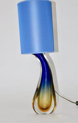Mid Century Italian Blue Glass Table Lamp By Flavio Poli For Seguso
