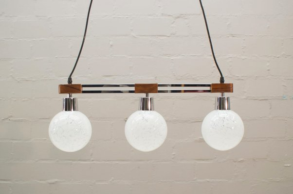 Rosewood Chrome Hanging Lamp With Three Lights And Gl Globes