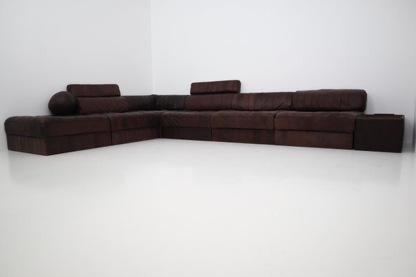 De Sede Patchwork.Vintage Ds88 Modular Brown Leather Patchwork Sofa From De Sede