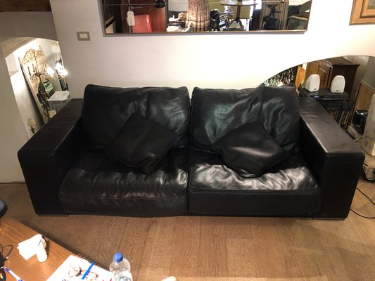 Vintage Budapest Black Leather Sofa By Paola Navone For Baxter 1