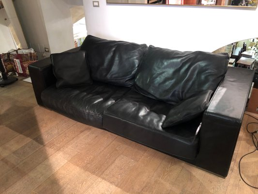 Vintage Budapest Black Leather Sofa by Paola Navone for Baxter
