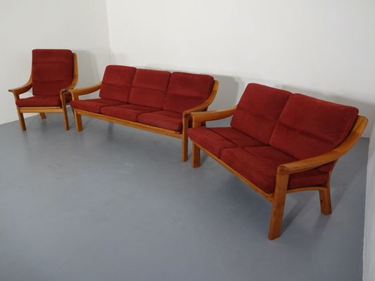 Pair Of Danish Sofas Lounge Chair Set By Poul Jeppesen 1960s For